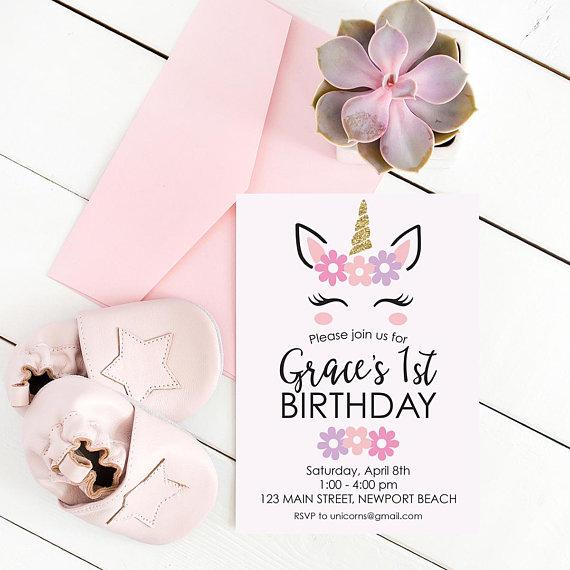 Printable Customized Childrens Birthday Invitation Custom Unicorn Theme Kids Party Digital Fil