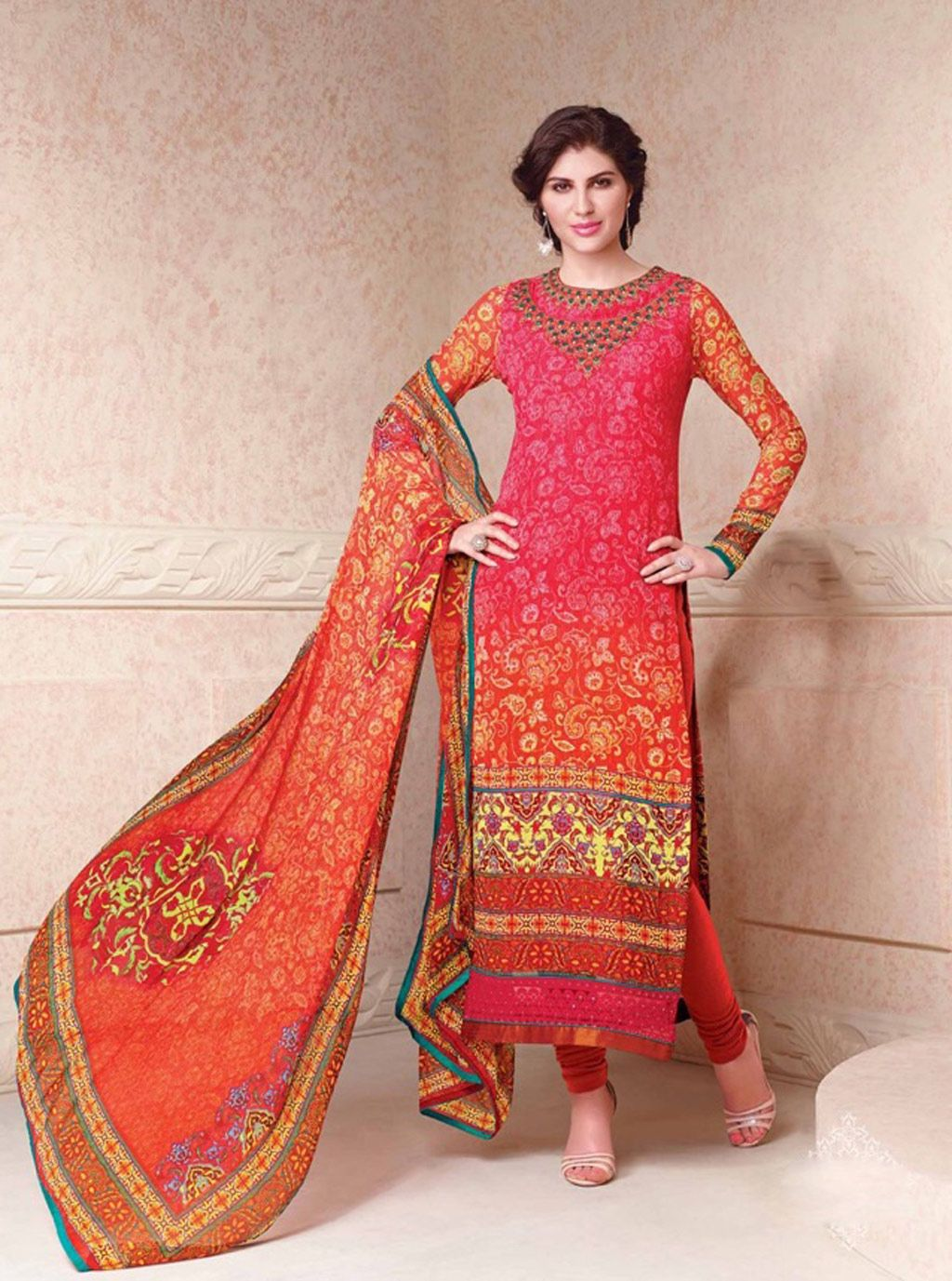$67.69 Pink Crepe Salwar With Churidar 57566
