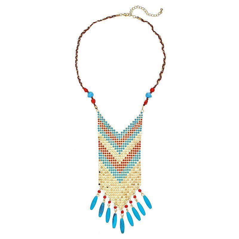 "GS by gemma simone Sun Salutation Collection Chevron Bib Necklace, Girl's, Size: 21"", multicolor"