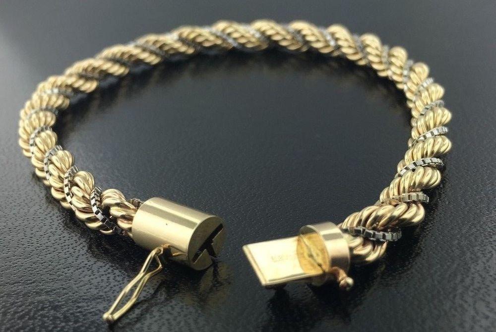 14k Yellow Gold Rope Chain Braided With White Box