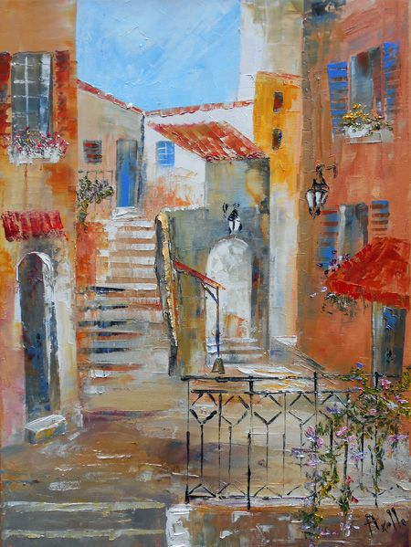dans une rue de st tropez tableau d 39 axelle bosler artiste peintre paintings drawings. Black Bedroom Furniture Sets. Home Design Ideas