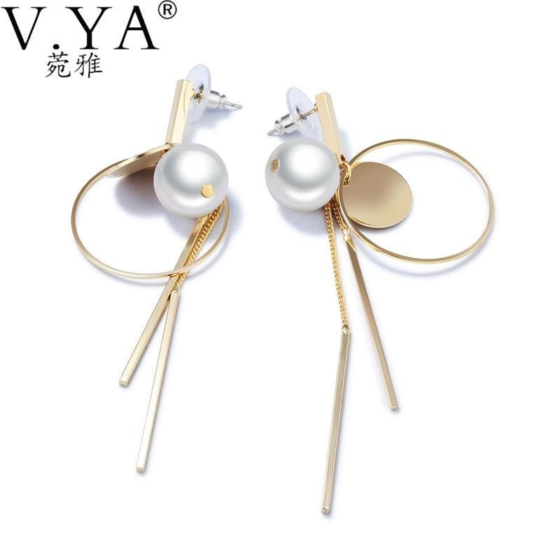 Earring Type Drop Earrings Item Fine Or Fashion Brand Name V Ya Pearl Simulated Style Trendy Gender Women Model