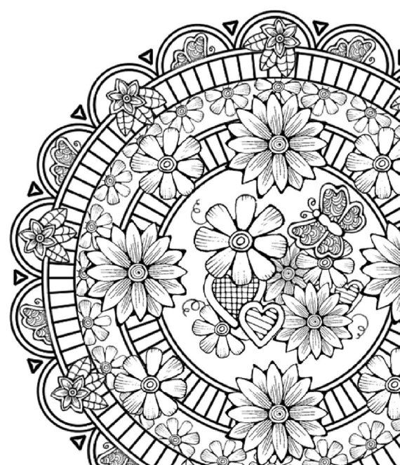 Flower Abstract Coloring Pages : Adult coloring page: flower page mandala