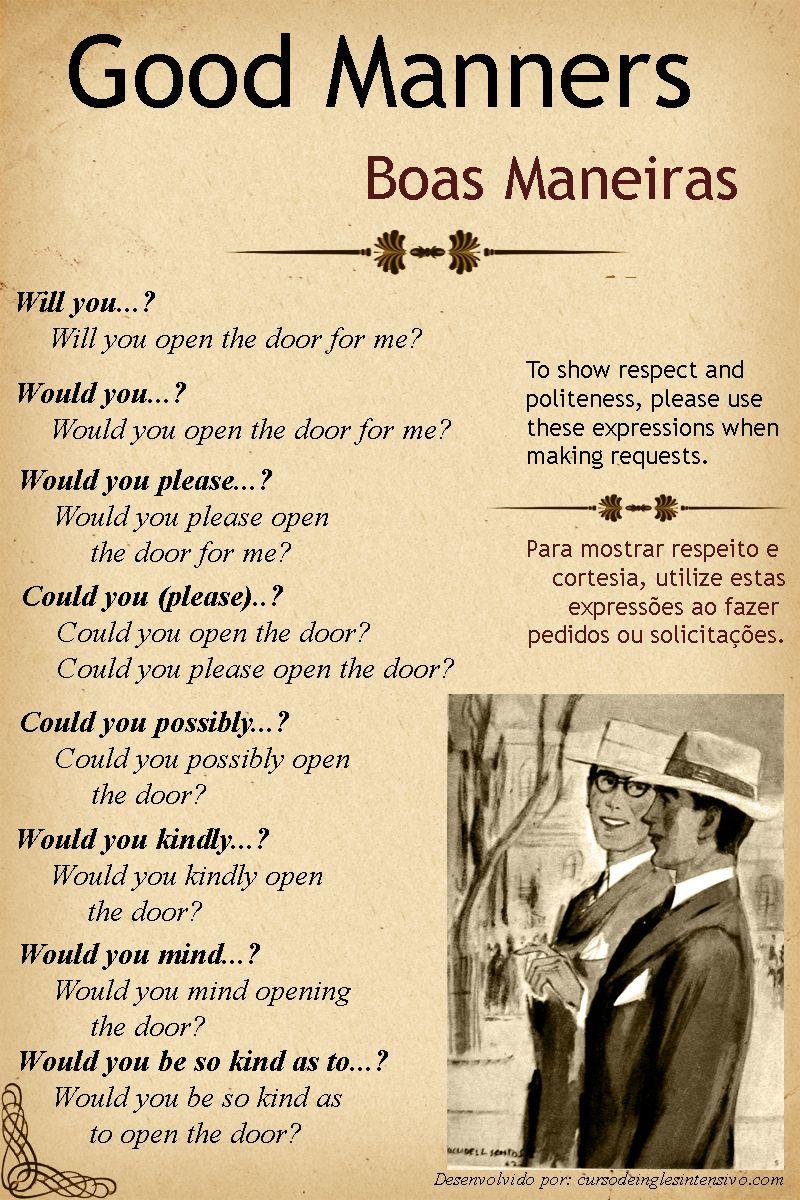 Para mostrar respeito e cortesia, utilize essas expressões ao fazer pedidos. Saiba mais sobre Boas Maneiras quando estiver nos Estados Unidos.  Aprenda Inglês em apenas 4 Meses