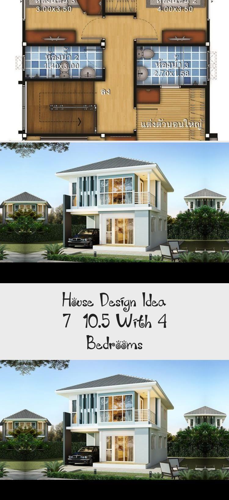 House Design Idea 7x10 5 With 4 Bedrooms Sam House Plans Smallhouseplansfarmhouse Uniquesmallho In 2020 Courtyard House Plans House Design Unique Small House Plans
