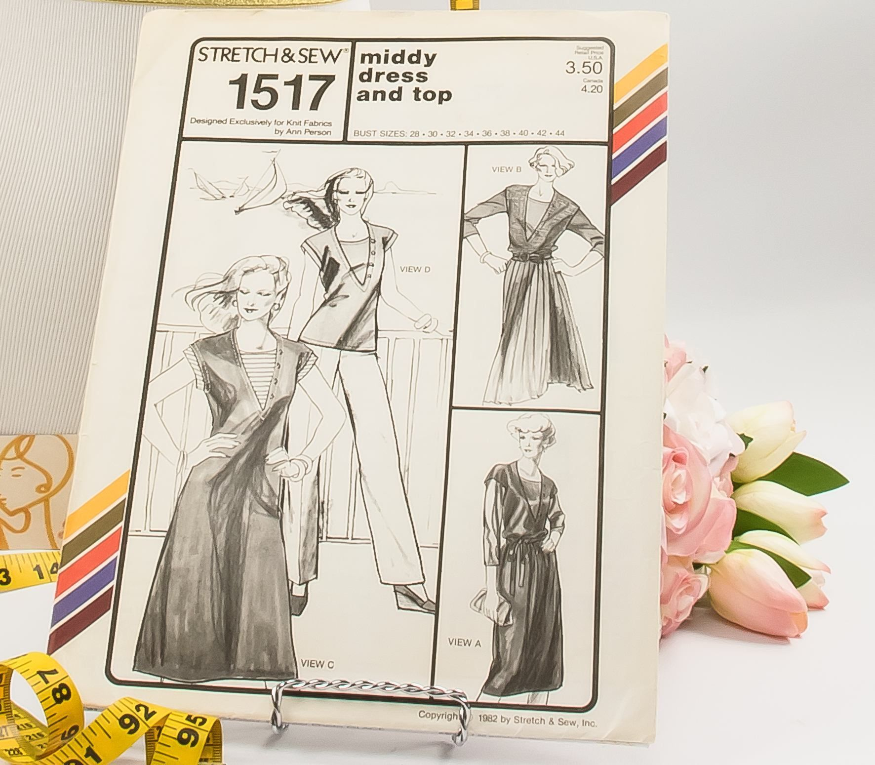 Midi Dress - Pattern 1517 - Vintage Sewing Pattern - Vintage Stretch ...