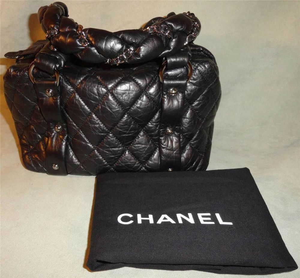 5bb8d7ca90bd CHANEL Black Quilted Distressed Leather Lady Braid Small Tote Bag Purse  AUTHEN http://