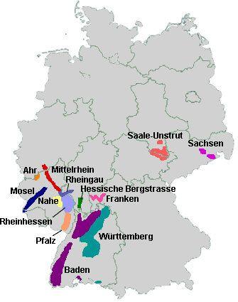 German Wine Regions Germany Pinterest - Germany vineyards map