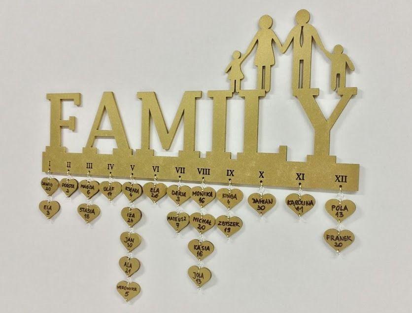Kalendarz Urodzinowy Na Prezent Dzien Matki Ojca Family Birthday Calendar Family Birthdays Laser Cutter Ideas