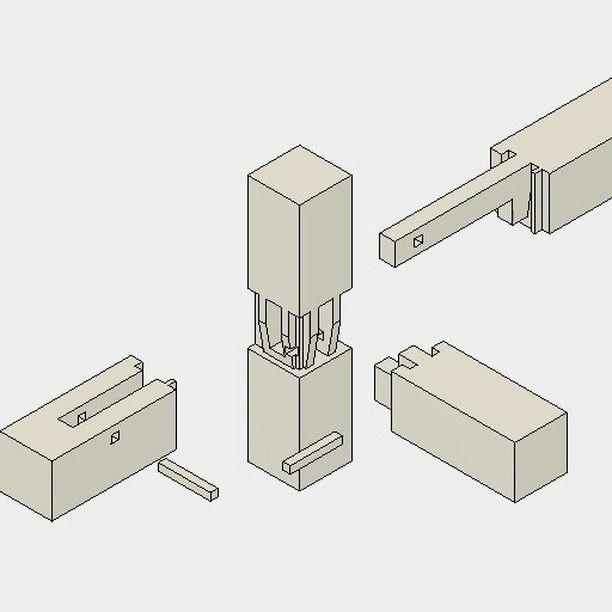 込み栓継ぎ仕口の三方差し Komisen Tsugi Shikuchi No Sanpousashi Joinery Woodjoint Woodworking Diy Japanese Joinery Joinery Wood Joints