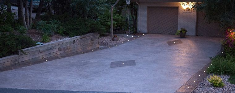 Concrete With Light | EMBEDDED IN STAMPED CONCRETE DRIVEWAY   DEK DOTS LED  DECK LIGHTS FROM