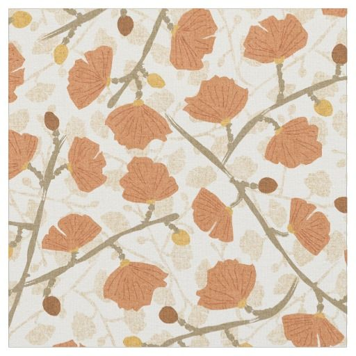 Classic Floral Overlay Fabric in Terra Cotta (detail) - (patternpod)