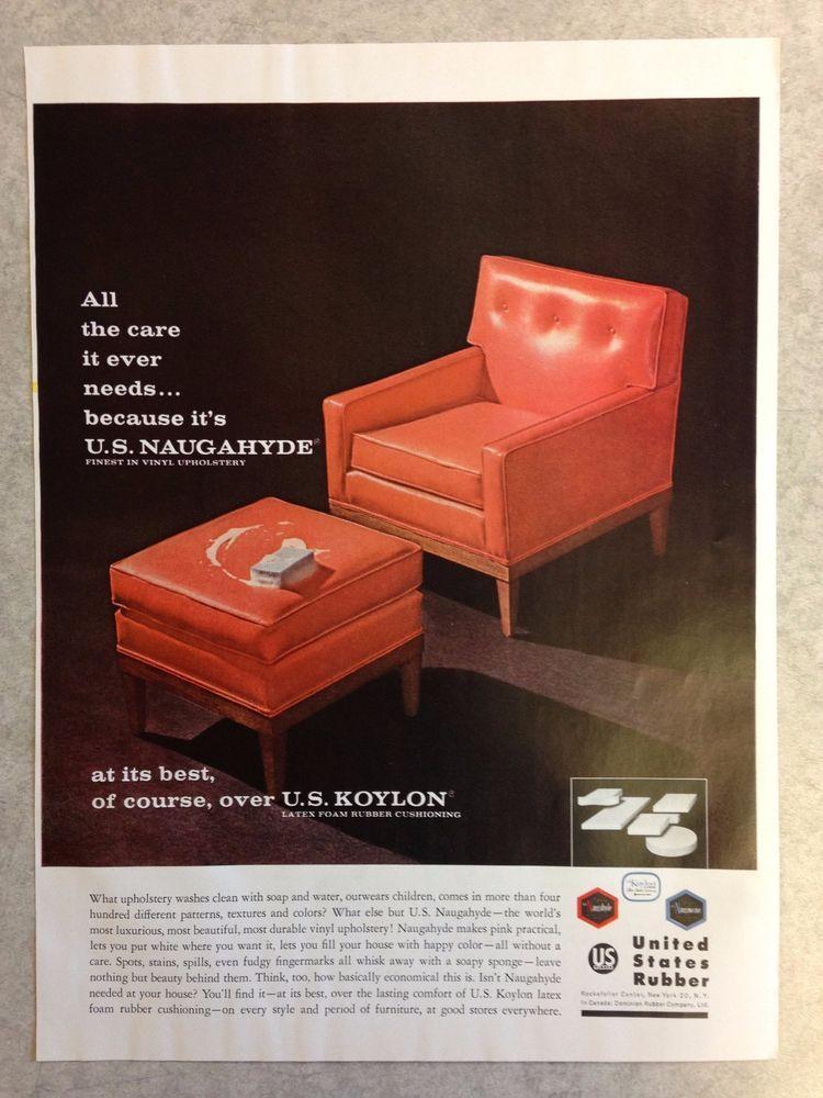 Delicieux Vintage Ad: 1963 NAUGAHYDE Vinyl Upholstery Orange Chair Ottoman Mid Century