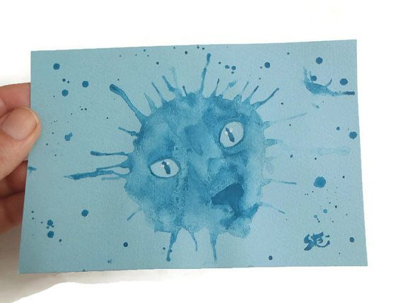 Siamese Cat Blue Watercolor Drippy Art By Lasoffittadiste On Etsy