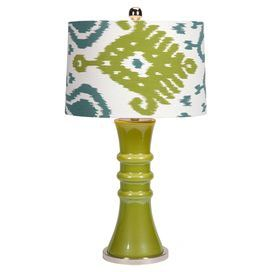 "A charming addition to your living room or parlor, this alluring table lamp showcases an eye-catching green base and whimsical ikat motif shade.  Product: Table lampConstruction Material: Glass, polyester, and ironColor: GreenAccommodates: (1) Bulb - not includedDimensions: 29"" H x 16"" Diameter"