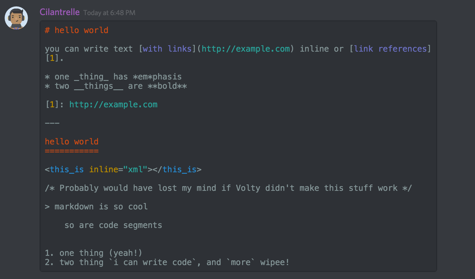 Code Block Tip Plus Markdown Text 101 Chat Formatting Bold Italic Underline Discord Being Used Quotes Discord Be Yourself Quotes