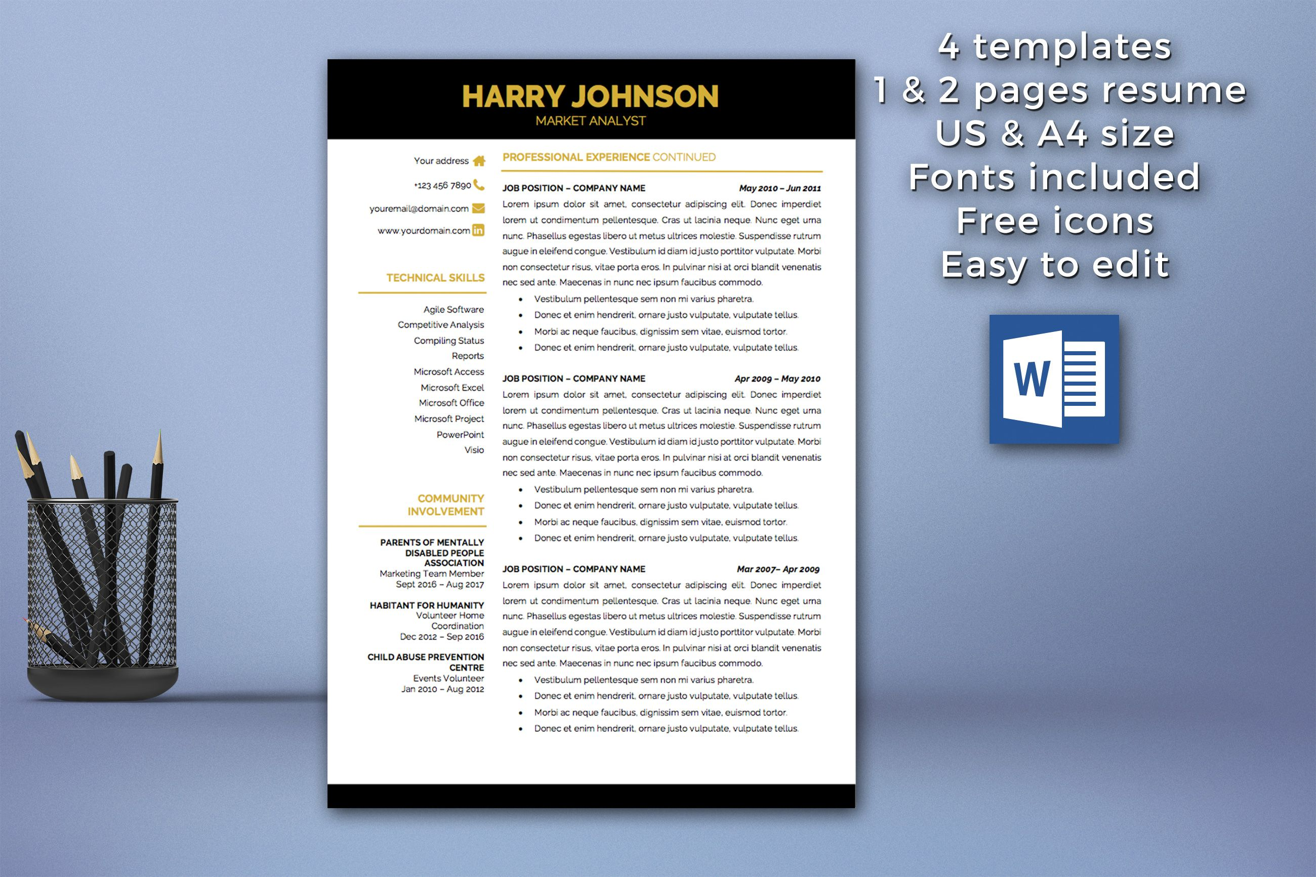 Modern Resume Template Instant Download / 1 U0026 2 Pages / Cover Letter  Template / Modern