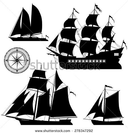 Yacht and old pirate ships - vector set | stencils | Ship