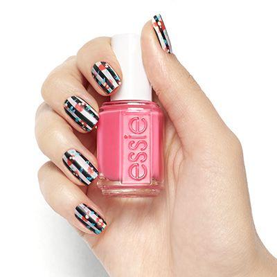 Nouveau Chic Floral Stripes Nail Art Design Essie Nail Polish