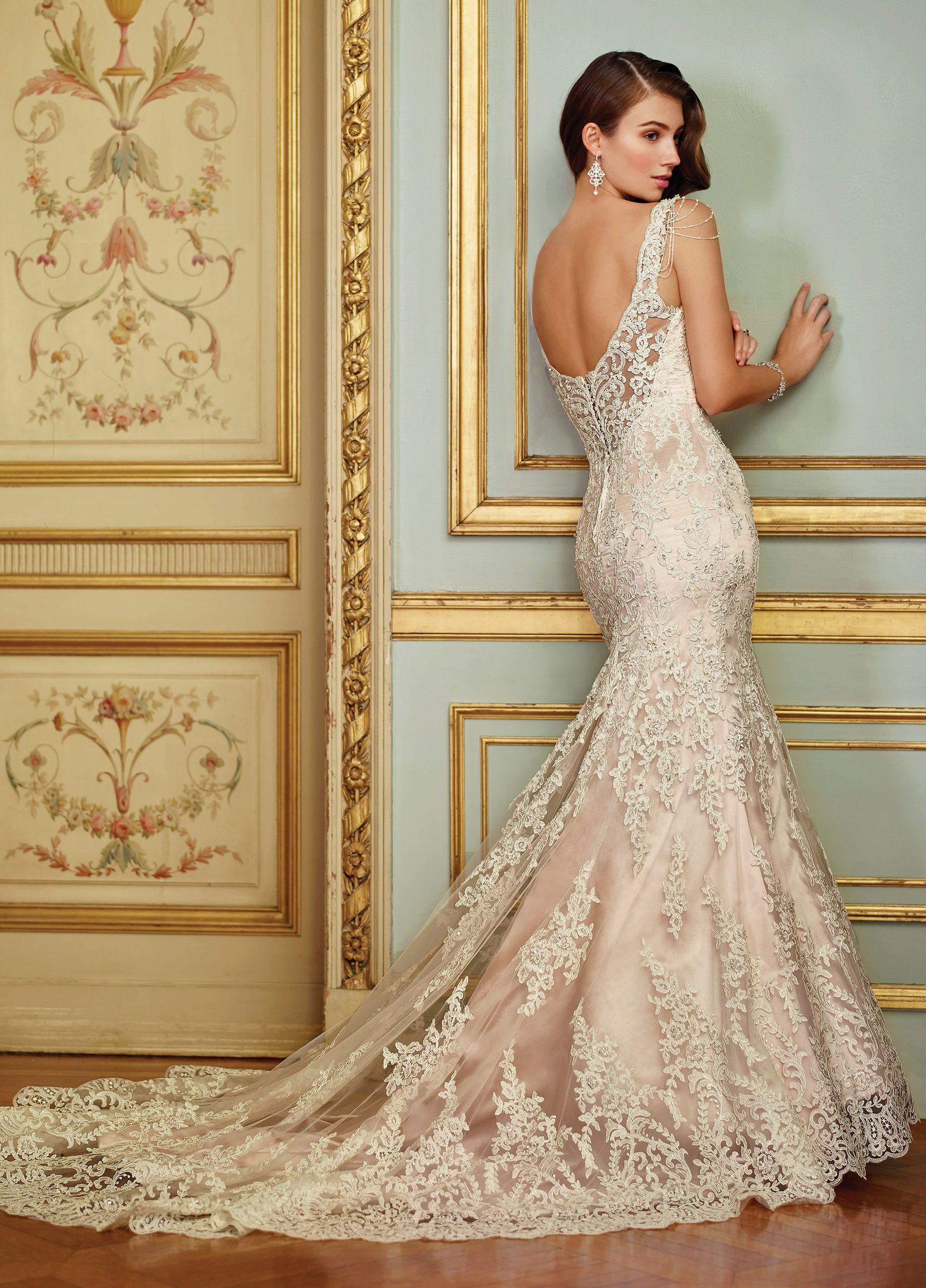 Vintage Lace & Beaded Trumpet Wedding Dress 117288 Ophira