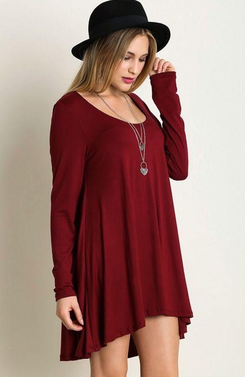 Long Sleeve High Low Tunic Dress/Top