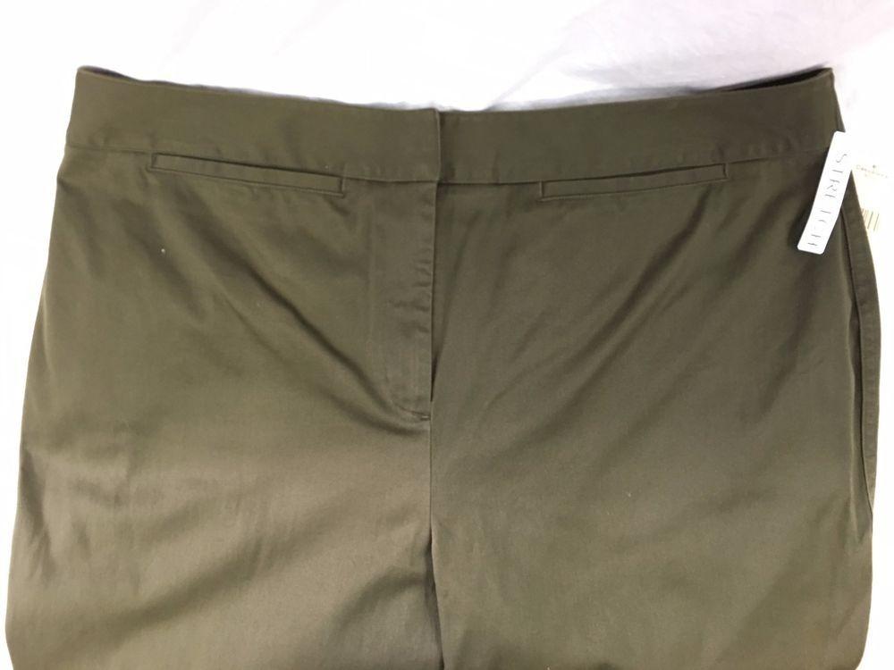 New Valerie Stevens Woman Green Pants Casualwear Size 18W Cotton NWT #ValerieStevens #CasualPants