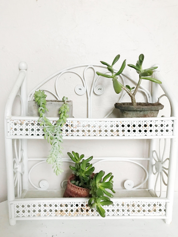 Woven Rattan Shelf, White Wicker Plant Shelf, Knick Knack Rack