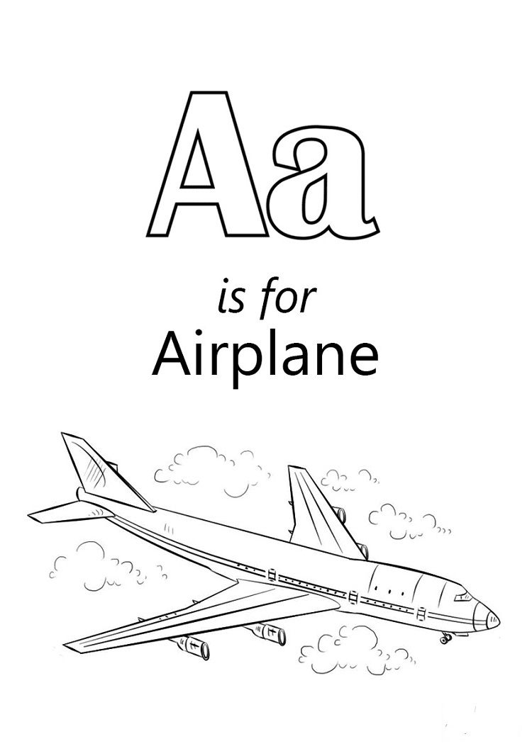 Letter A is For Airplane Coloring Pages Check more at http