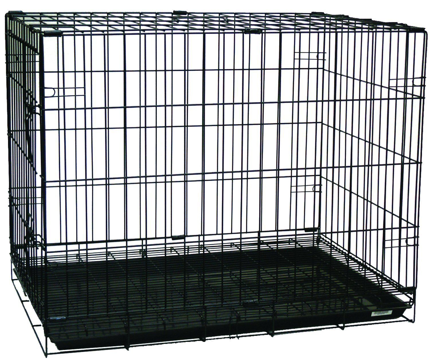 Yml Double Door Dog Kennel Cage With Plastic Tray No Bottom Wire 42 Inch Black Trust Me This Is Great C Dog Kennel Dog Boarding Near Me Large Dog Crate