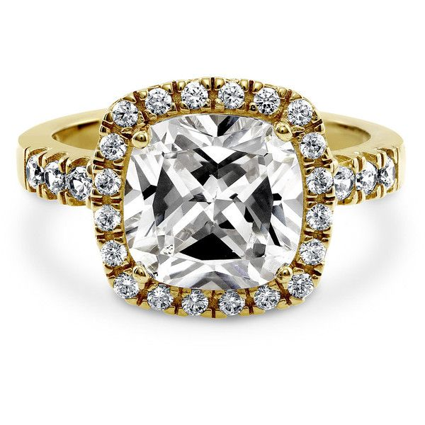 BERRICLE Gold Plated Sterling Silver 4.25 ct.tw Cushion CZ Halo... ($66) ❤ liked on Polyvore