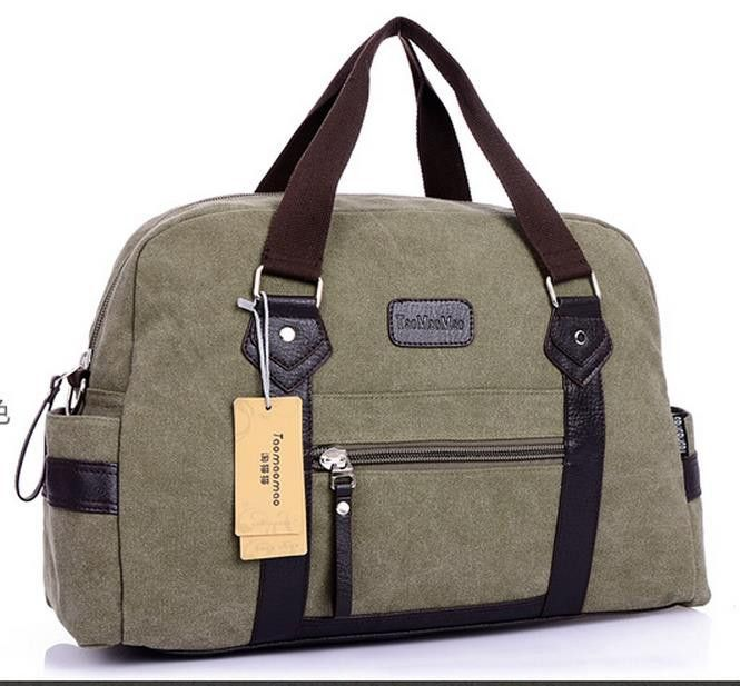 Vintage military Canvas Leather Men travel bags Carry on Luggage bags Men  Duffel bags travel tote 9401dbd7c529d