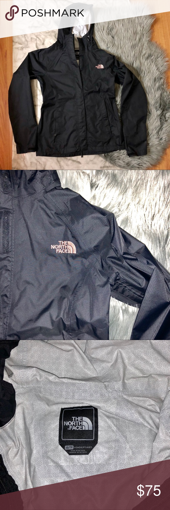 Black Rose Gold Northface Jacket Black Northface Windbreaker W Rose Gold Water Proof No Flaws Worn A Handful North Face Jacket Clothes Design Black Rose [ 1740 x 580 Pixel ]