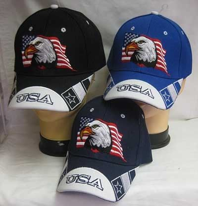 12f00a86122d2 Military and Patriotic Baseball Hats - Eagle with USA Flag