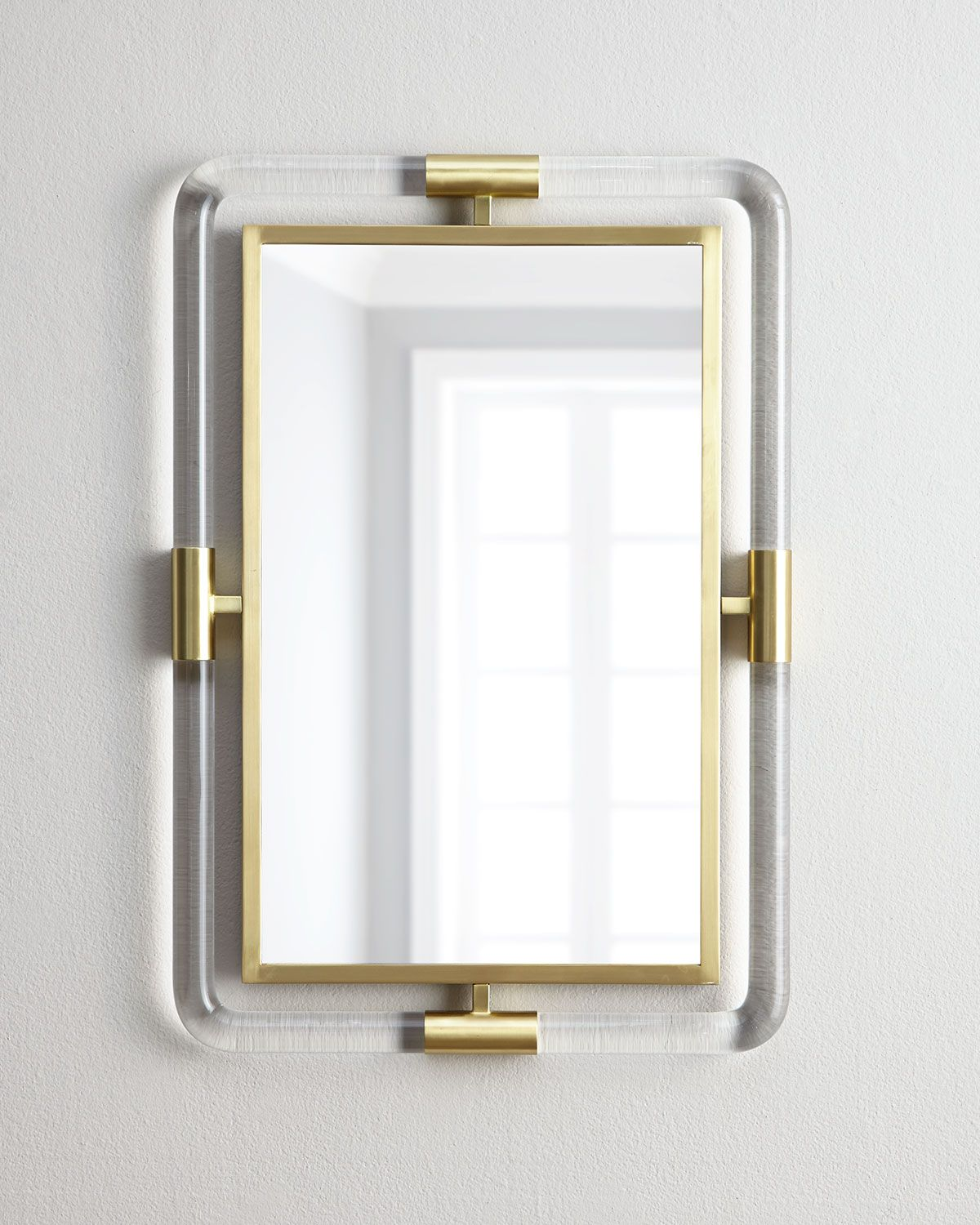 Jacques Acrylic and Brass Mirror