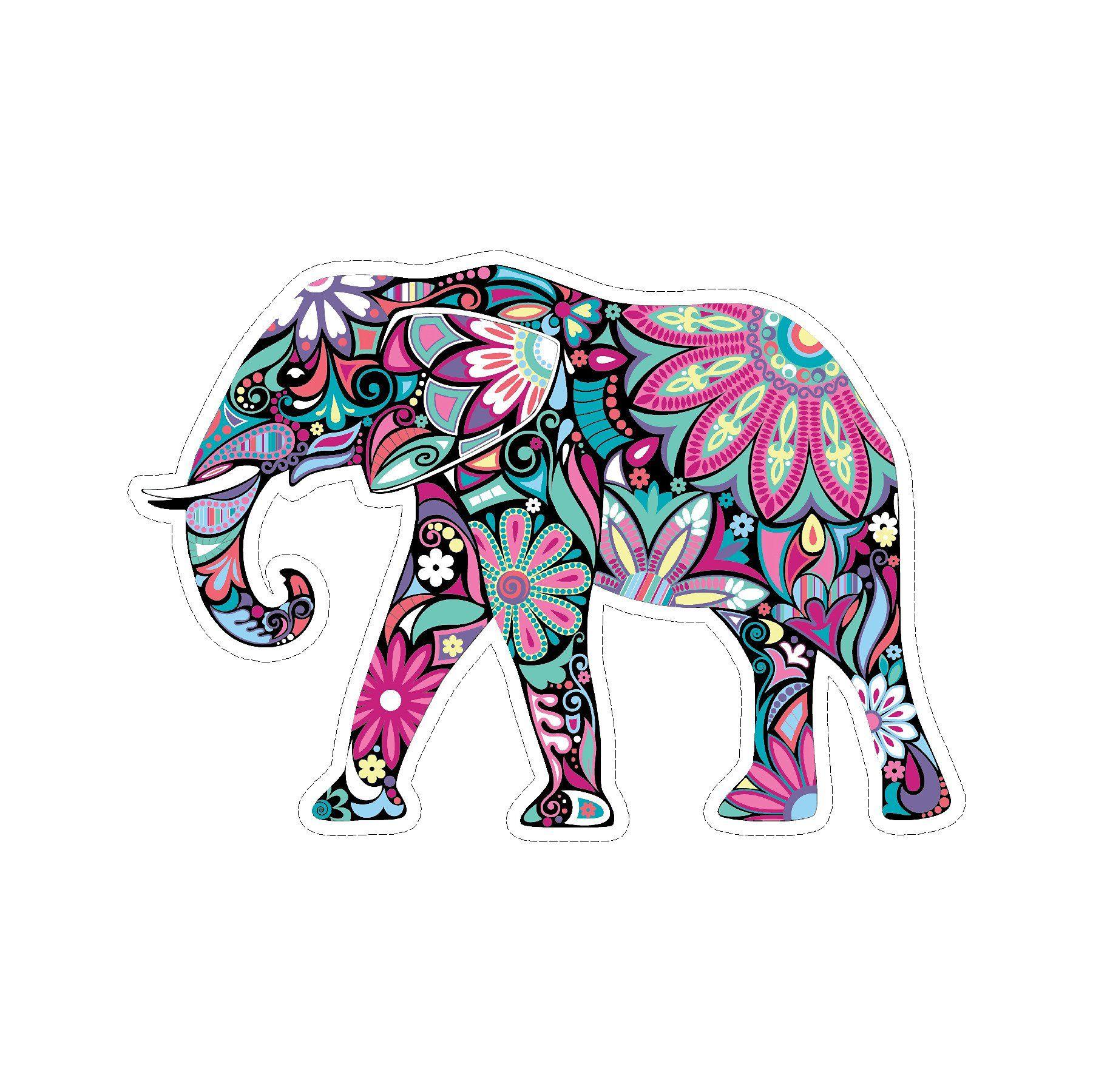 Elephant Mandala Art Tribal Vinyl Car Sticker Mandala Art Car Decal Hippie Elephant Coloring Page [ 1800 x 1801 Pixel ]