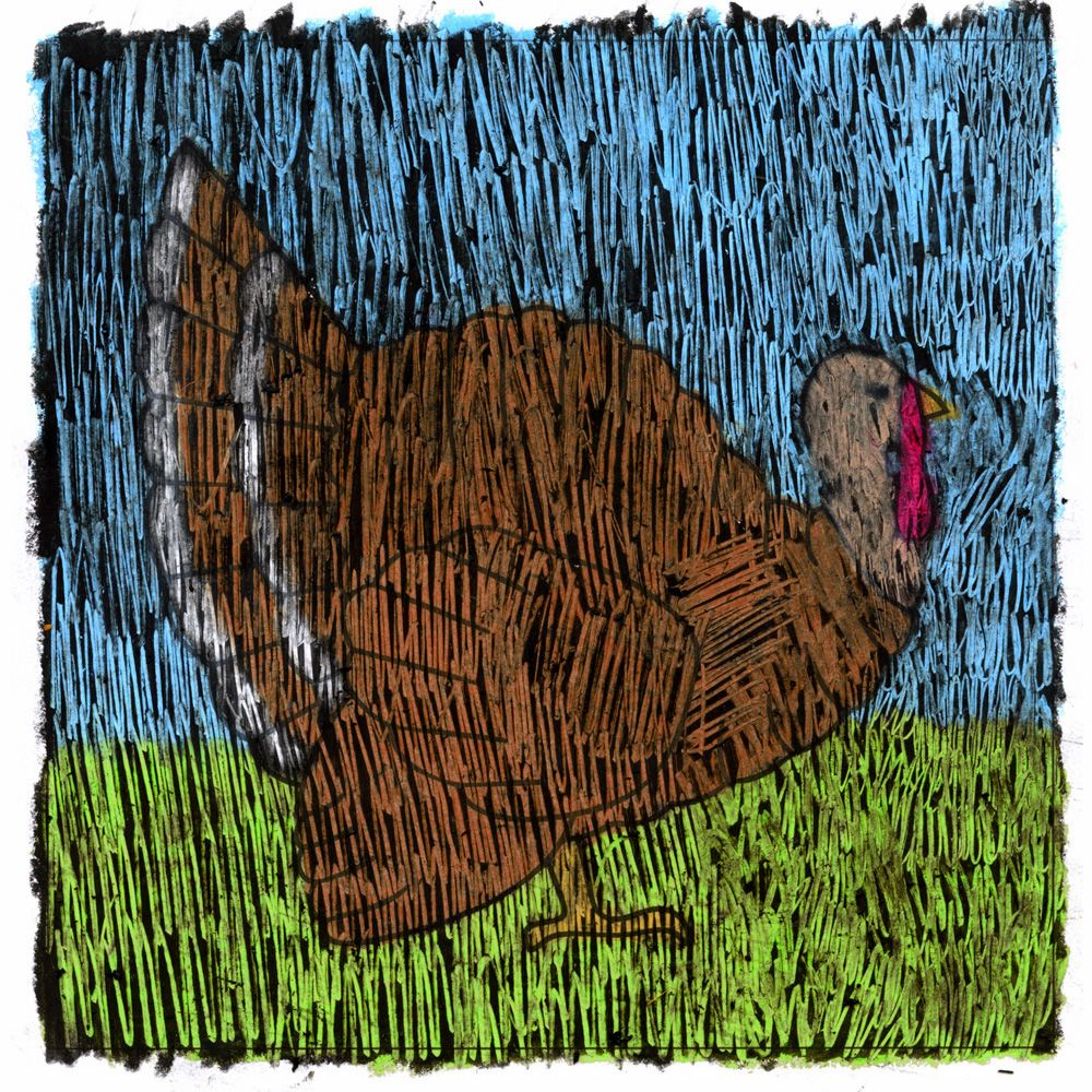 How to Color a Sgraffito Turkey · Art Projects for Kids