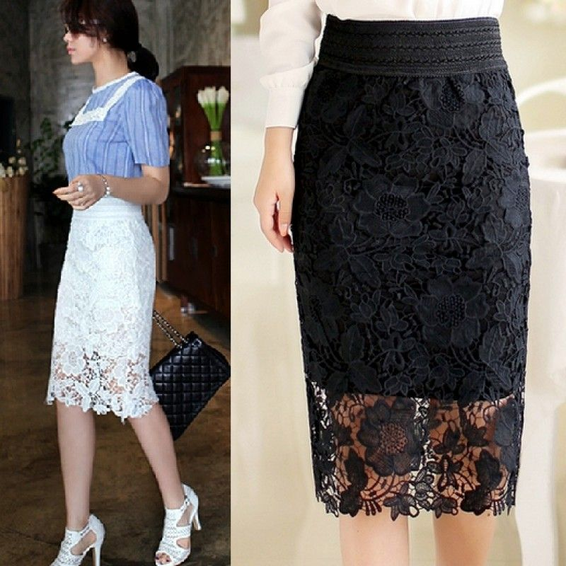 Купить черную кружевную юбку