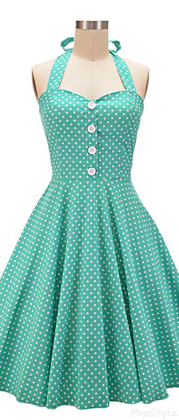 Polka dot summer dress 50s clothing 600