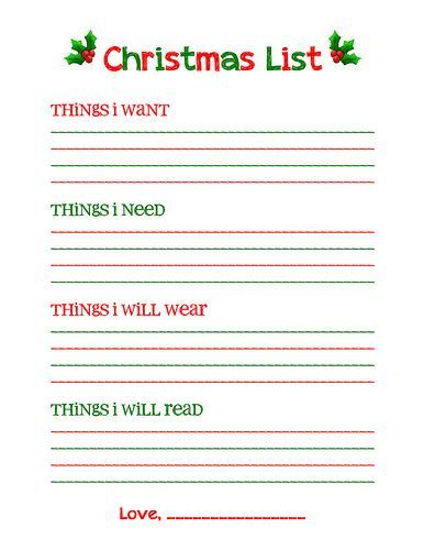 Christmas list free printable--\