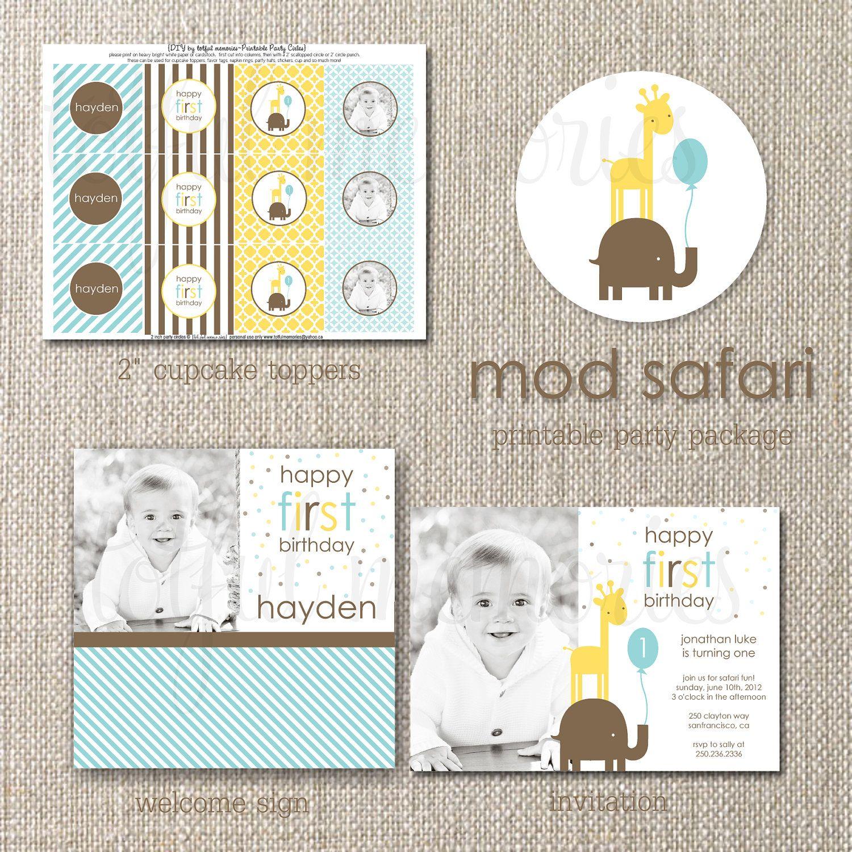 1st birthday ideas #safari DIY Printable Invitation. Mod Boy Safari ...