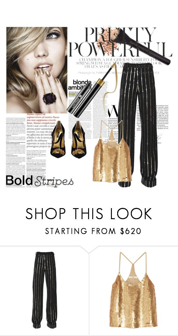 """BOLD BLONDE"" by evadefrancesco ❤ liked on Polyvore featuring Thierry Mugler, TIBI, Dolce&Gabbana and stripedpants"