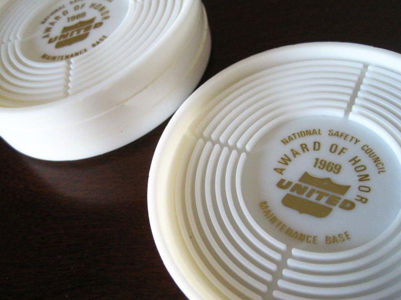 United Airlines Coaster Set White Plastic Coasters