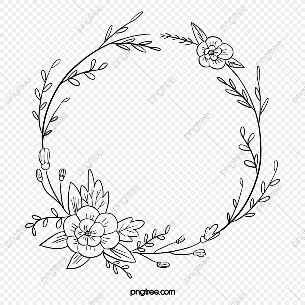 Black Hand Painted Line Side Wedding Decoration With Enclosed Round Symbolic Flower Border Border Clipart Wedding Decorations Wedding Ceremony Png Transpare Flower Embroidery Designs Hand Embroidery Patterns Free Wreath Drawing