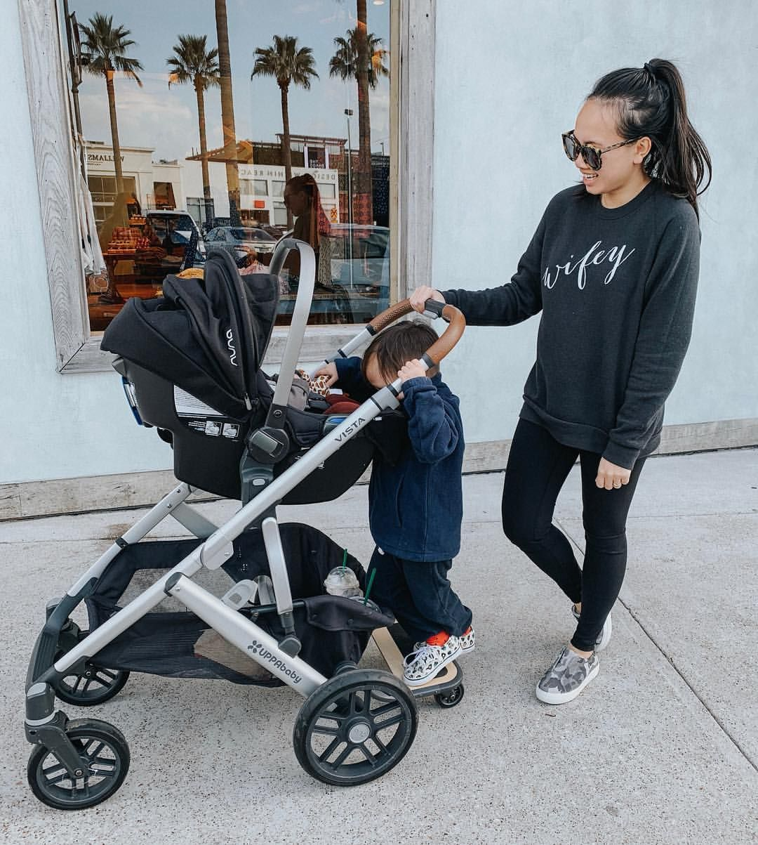 My idea of a comfy mom outfit. We love our Nuna car seat