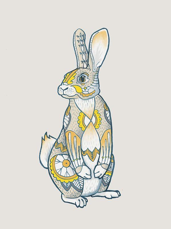 Mandala Bunny\' Art Print by Theysaurus   кролики   Pinterest ...
