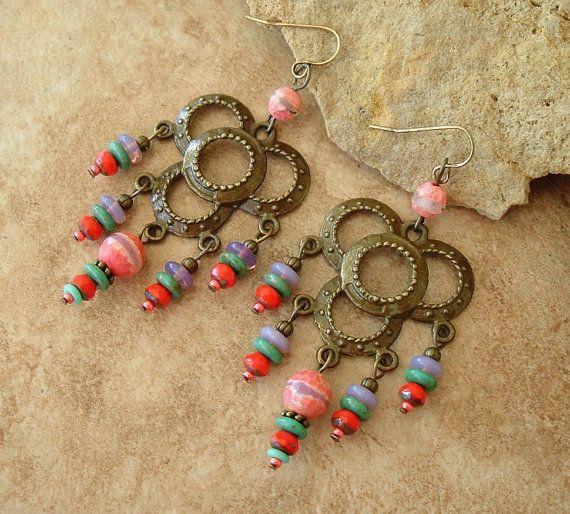 Boho Santa Fe Style Earrings Colorful Chandelier by BohoStyleMe