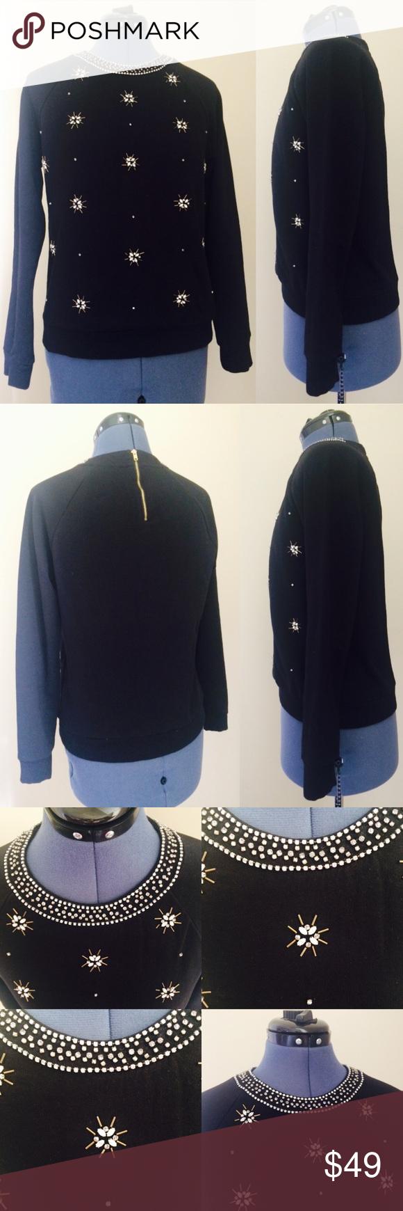 JUICY COUTURE Black Embellished Sweater JUICY COUTURE Black Embellished Sweater. Size S. No signs of worn. Juicy Couture Sweaters Crew & Scoop Necks