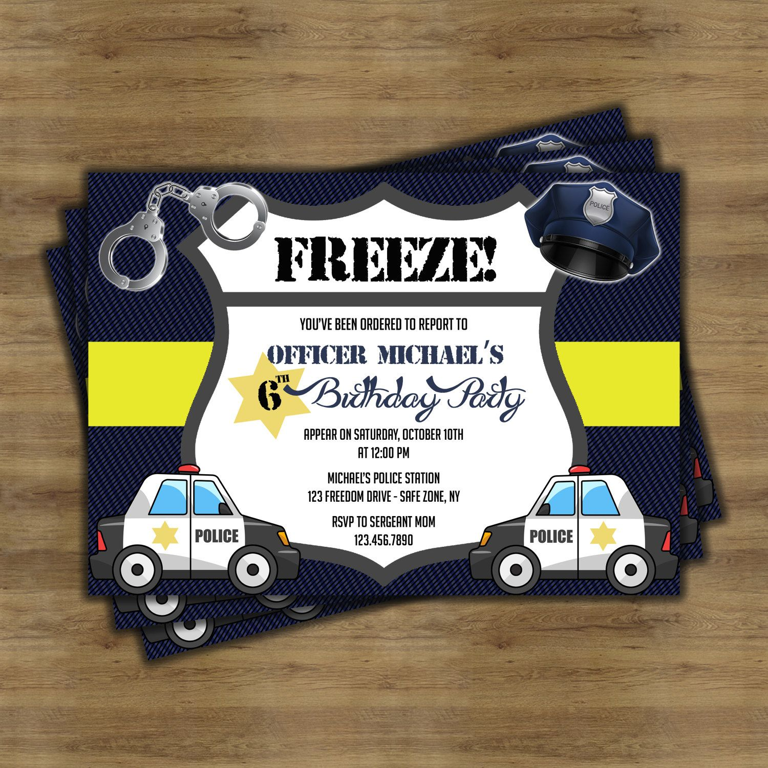 Police Birthday Invitations Police Birthday Party Police Party