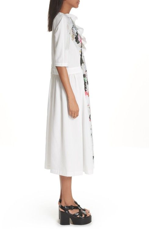 Ruffled Printed Voile Midi Dress - White Comme Des Garçons For Cheap Low Price Cheap Price Looking For Cheap Price kmnf9XrJl