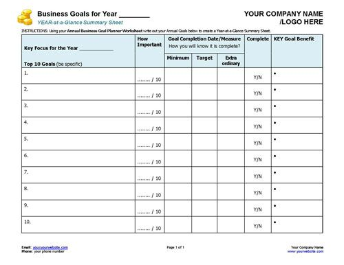 Business Coaching Business Goals Year At A Glance Awesome